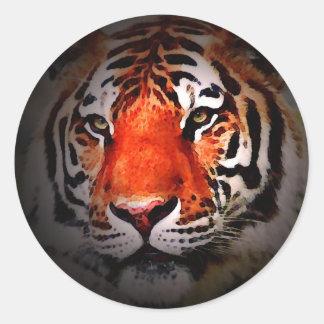 Cara del tigre pegatinas redondas