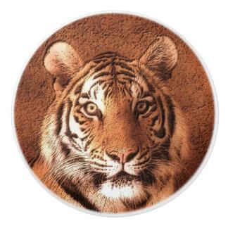 Cara del tigre siberiano pomo de cerámica