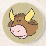 Cara del toro del dibujo animado de Brown Posavasos Manualidades