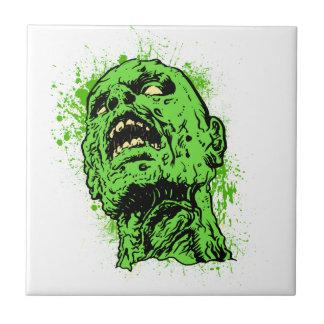 Cara del zombi azulejo cuadrado pequeño