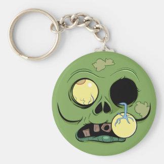 Cara del zombi con el ojo haciendo estallar hacia llavero redondo tipo pin
