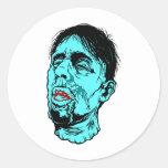 Cara del zombi pegatinas redondas