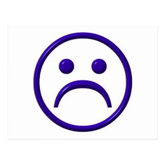 Cara deprimida, triste y azul tarjetas postales