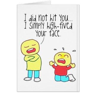 Cara divertida altos cinco tarjetas