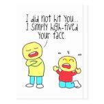 Cara divertida altos cinco tarjetas postales