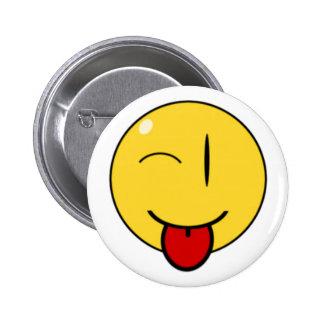 Cara divertida, botón pin redondo de 2 pulgadas