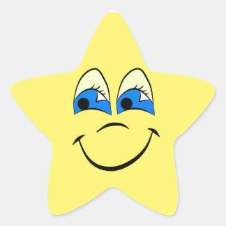 Cara divertida cómica calcomania forma de estrella