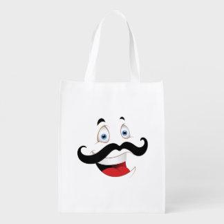 Cara divertida con el bigote bolsa de la compra