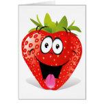 Cara divertida de la fresa que pega hacia fuera la