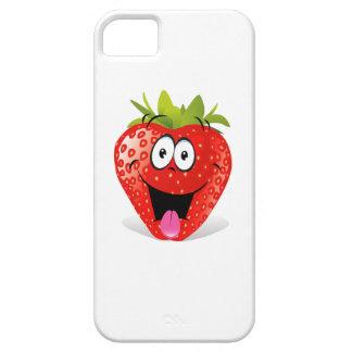 Cara divertida de la fresa que pega hacia fuera la funda para iPhone 5 barely there
