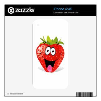 Cara divertida de la fresa que pega hacia fuera la iPhone 4S skin