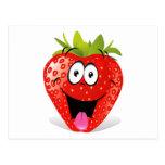 Cara divertida de la fresa que pega hacia fuera la tarjetas postales