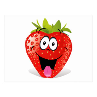 Cara divertida de la fresa que pega hacia fuera la postales
