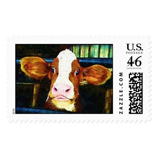 Cara divertida de la vaca sello