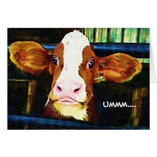 Cara divertida de la vaca felicitacion