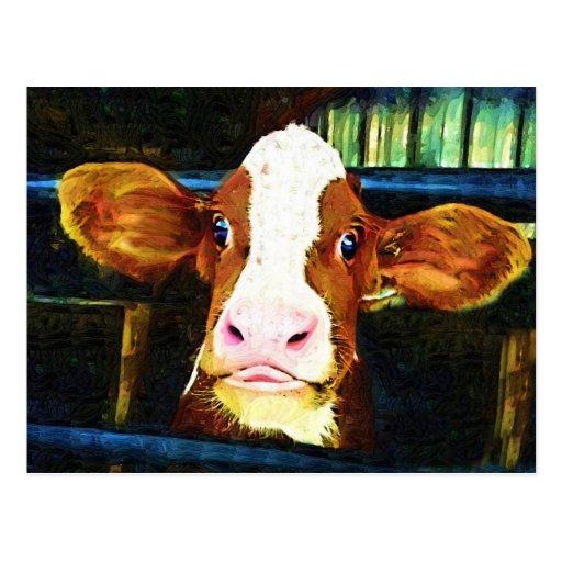 Cara divertida de la vaca tarjetas postales