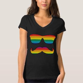 Cara divertida del arco iris playera