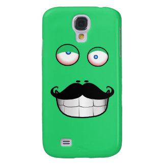 Cara divertida del bigote (verde) funda para galaxy s4