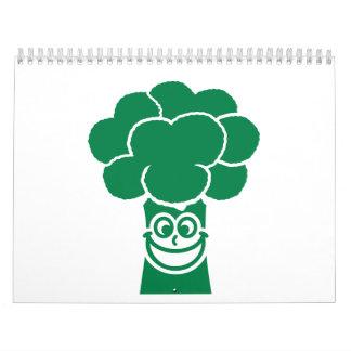 Cara divertida del bróculi calendario de pared