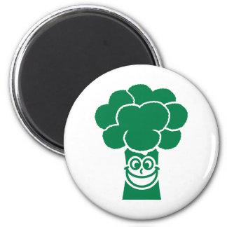 Cara divertida del bróculi iman de nevera