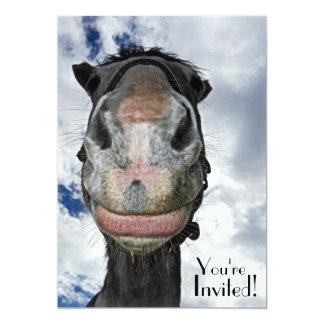 """Cara divertida del caballo para el fiesta o el invitación 5"""" x 7"""""""