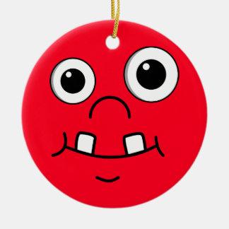 Cara divertida del dibujo animado adorno navideño redondo de cerámica