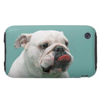 Cara divertida del dogo con la lengua que se pega iPhone 3 tough carcasa