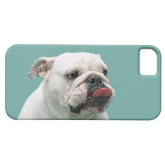Cara divertida del dogo con la lengua que se pega funda para iPhone SE/5/5s