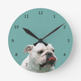 Cara divertida del dogo con la lengua que se pega  reloj redondo mediano