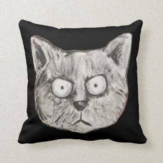 cara divertida del gato almohadas