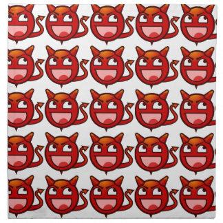 Cara divertida del smiley del diablo rojo servilleta