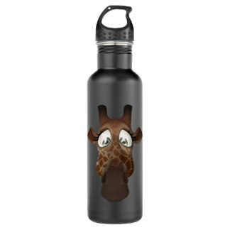 Cara divertida linda de la jirafa botella de agua