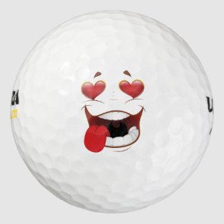 Cara divertida pegada amor pack de pelotas de golf