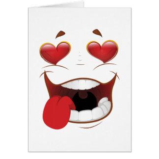 Cara divertida pegada amor tarjeta de felicitación