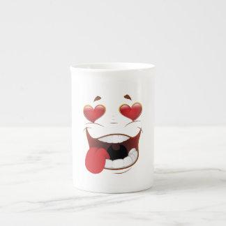 Cara divertida pegada amor taza de porcelana