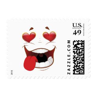 Cara divertida pegada amor timbres postales