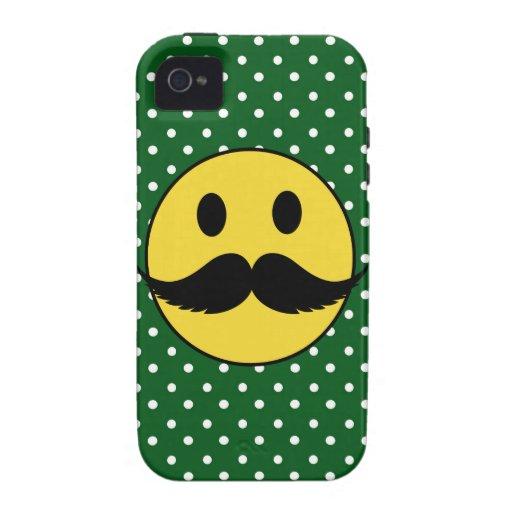 Cara divertida retra del smiley del bigote del iPhone 4/4S funda