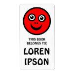 Cara divertida - rojo - placa de libro etiquetas de envío