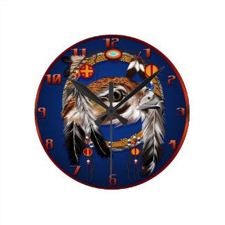 Cara Dreamcatcher Wallclock del halcón Reloj Redondo Mediano