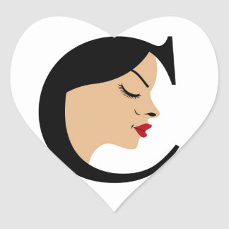 Cara en el alfabeto C Pegatina En Forma De Corazón