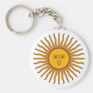 Cara en el Sun - sol Llavero Redondo Tipo Pin