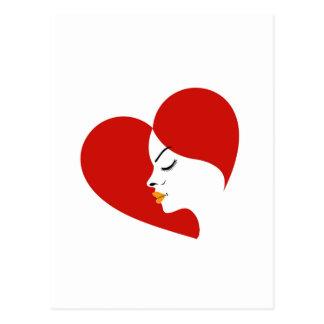 cara en un corazón rojo que muestra fertilidad postales