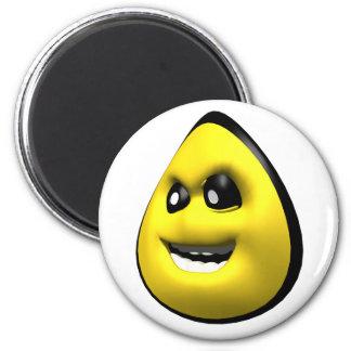 Cara enojada amarilla del smiley del maíz iman de frigorífico