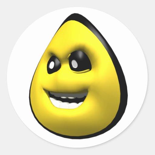 Cara enojada amarilla del smiley del maíz pegatina redonda