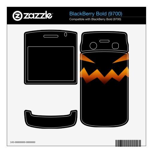 Cara enojada de la calabaza de Halloween BlackBerry Bold Calcomanías