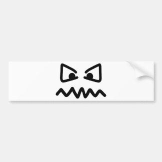 Cara enojada de los ojos etiqueta de parachoque