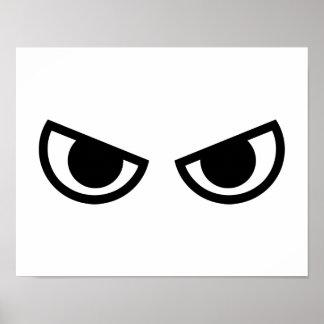 Cara enojada de los ojos póster