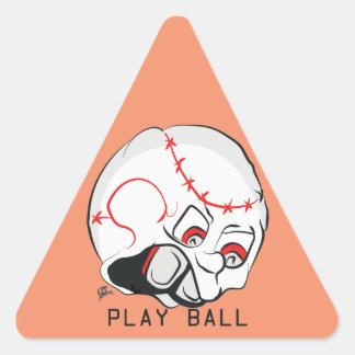 Cara enojada del béisbol pegatina triangular