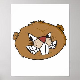 cara enojada del castor póster