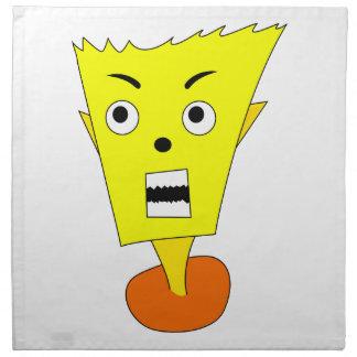 Cara enojada del dibujo animado servilleta imprimida
